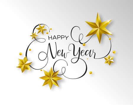 Ilustración de Happy New Year calligraphic greeting card or party invitation illustration, handwritten typography text quote with festive 3d gold stars. Elegant holiday message background. - Imagen libre de derechos