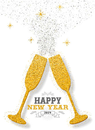 Illustration for Happy new year 2019 luxury gold celebration champagne golden glitter dust glasses cheering. Ideal for greeting card or elegant holiday party invitation. - Royalty Free Image