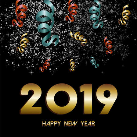 Illustration pour Happy New Year 2019 greeting card, gold text with night sky firework and confetti explosion background. - image libre de droit