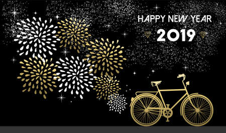 Illustrazione per Happy New Year 2019, gold greeting card design with bike silhouette and fireworks in night sky background. - Immagini Royalty Free