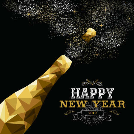 Illustrazione per Happy new year 2019 fancy gold champagne bottle in hipster triangle low poly style. Ideal for greeting card or elegant holiday party invitation. - Immagini Royalty Free