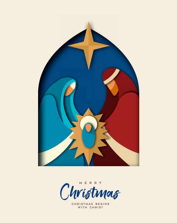 Ilustración de Merry Christmas greeting card, holy family illustration in modern layered paper cut style. Religious holiday design of baby jesus christ. - Imagen libre de derechos