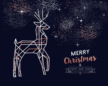 Illustration pour Merry Christmas and Happy New Year abstract deco copper design with reindeer in outline style. Ideal for holiday greeting card, poster, campaign or web. - image libre de droit