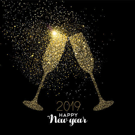 Illustration pour Happy new year 2019 gold champagne glass celebration toast made of realistic golden glitter dust. Ideal for holiday card or elegant party invitation. - image libre de droit