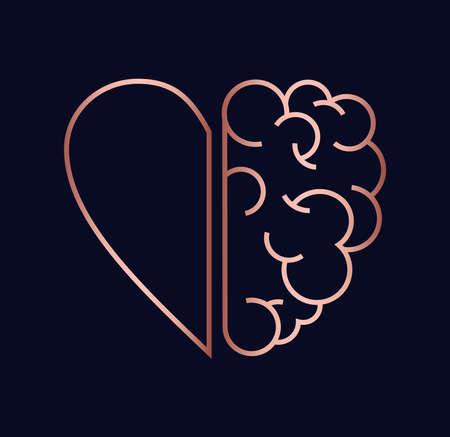 Illustrazione per Heart and brain work as team concept design, flat line art modern illustration in luxury copper color. - Immagini Royalty Free