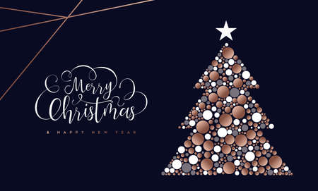Illustration pour Merry Christmas and Happy New Year greeting card of copper cirlces making pine tree shape. - image libre de droit