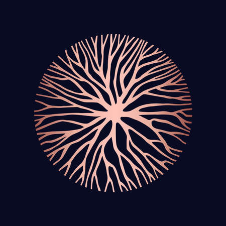 Ilustración de Abstract copper circle shape illustration of tree branches or roots for concept design, creative nature art. - Imagen libre de derechos