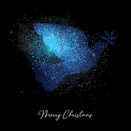 Illustrazione per Merry Christmas blue bird luxury greeting card design. Dove made of metallic glitter dust on black background. - Immagini Royalty Free