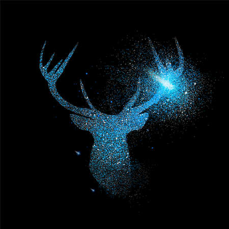 Illustration pour Blue deer luxury holiday greeting card design. Reindeer made of metallic glitter dust on black background.  - image libre de droit