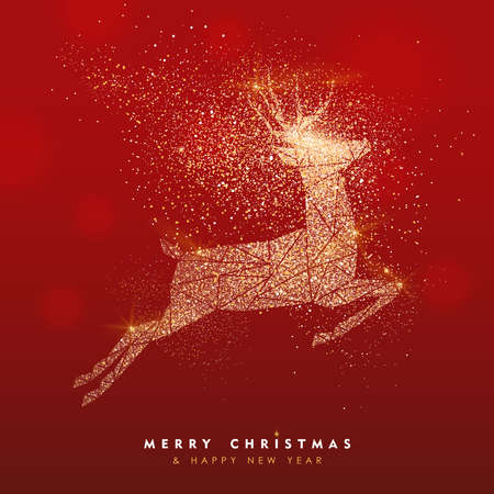 Illustrazione per Merry Christmas and Happy New Year luxury greeting card illustration, xmas jumping reindeer in gold glitter texture on festive red bokhe lights background with holiday text quote. - Immagini Royalty Free