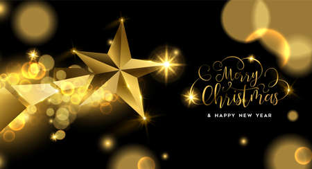 Illustration pour Merry Christmas luxury golden greeting card illustration, star ornament made of solid gold in 3d style. - image libre de droit