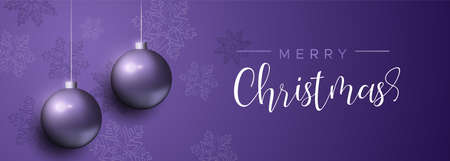 Illustrazione per Merry Christmas banner with purple xmas bauble ornaments and snowflake decoration. Luxury holiday balls background for invitation or seasons greeting. - Immagini Royalty Free