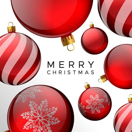 Illustration for Merry Christmas card, red bauble ornament holiday background for invitation or seasons greeting. - Royalty Free Image