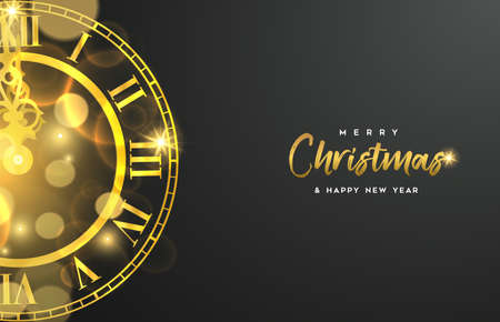 Ilustración de Christmas and New Year luxury golden web banner illustration, clock marking midnight time on black background. - Imagen libre de derechos