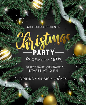 Illustration pour Merry Christmas Happy New Year party invitation. Gold bauble ornaments, xmas lights and realistic 3d pine tree on black background. Luxury holiday design for brochure or event flyer. - image libre de droit