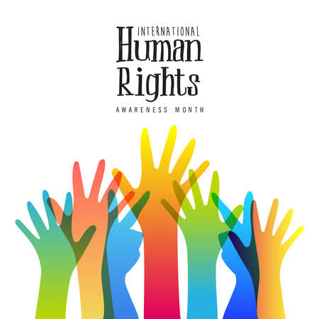 Ilustración de International Human Rights awareness month illustration for global equality and peace with colorful people hands, social diversity concept. - Imagen libre de derechos
