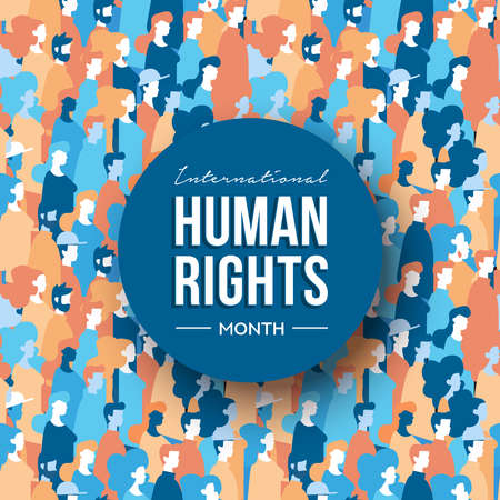 Illustration for International Human Rights month illustration for global equality and peace with diverse people group. - Royalty Free Image
