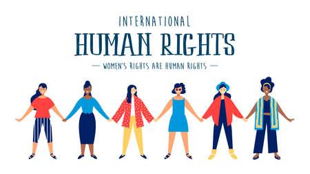 Ilustración de International Human Rights month illustration for global equality and peace with diverse women group. - Imagen libre de derechos