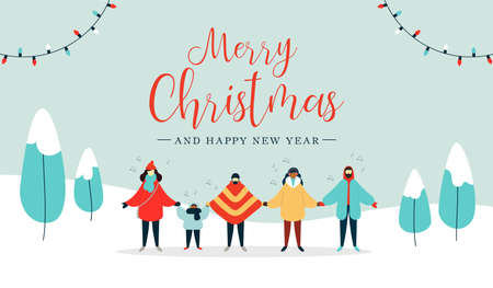 Illustration pour Merry Christmas and Happy New Year illustration of diverse people group singing xmas carols songs in snow landscape. Flat style holiday design for winter season. - image libre de droit