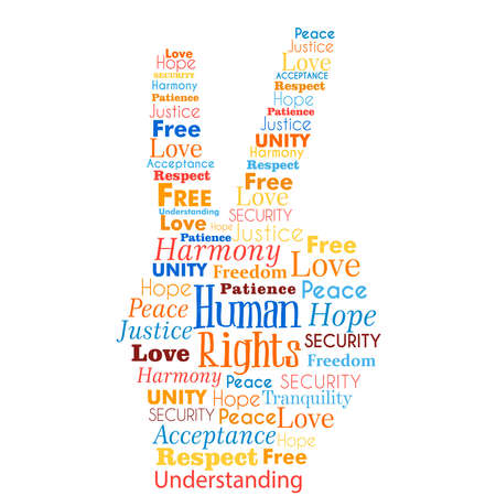 Illustration pour International Human Rights awareness illustration concept words in hand shape for global equality. Humanity love and peace idea. - image libre de droit