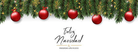 Illustration pour Merry Christmas Happy New Year card in spanish language. Realistic pine tree wreath garland with red xmas ornament background for luxury holiday invitation or seasons greeting. - image libre de droit