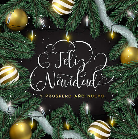 Illustrazione per Merry Christmas Happy New Year card in spanish language. Gold ornaments, xmas lights and pine tree background. Luxury holiday design for invitation or seasons greeting. - Immagini Royalty Free