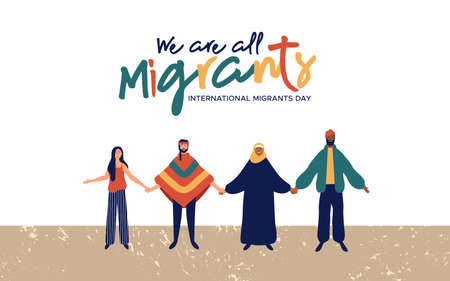 Illustrazione per International Migrants Day background illustration, diverse people group from different cultures together for globla migration or refugee help concept. - Immagini Royalty Free