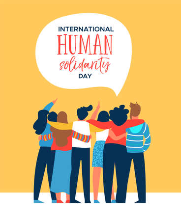 Illustration for International Human Solidarity Day illustration of diverse friend group from different cultures hugging together for social help, global equality concept.  - Royalty Free Image