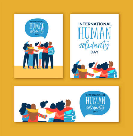 Illustration pour International Human Solidarity Day card set of diverse friend group from different cultures hugging together for community help, social equality concept. - image libre de droit