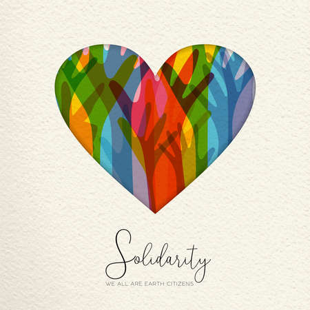 Illustrazione per International Human Solidarity Day illustration. Paper cut  heart shape and colorful hands from different cultures helping each other for community help, social love concept. - Immagini Royalty Free