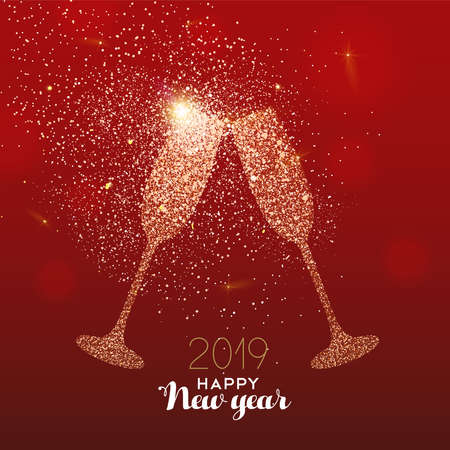 Illustrazione per New Year luxury greeting card illustration, drink glass toast made of gold glitter texture on festive red background with holiday text quote. - Immagini Royalty Free