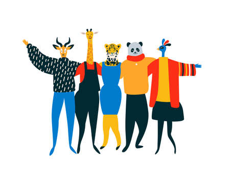 Illustration pour Diverse friend group of wild animals hugging together for endangered animal conservation and protection concept. Lion, bird, panda bear, giraffe team hug on isolated background with copy space. - image libre de droit