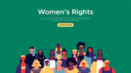 Illustration pour Womens Rights landing web page template. Diverse woman group illustration for internet site background, female community support concept. - image libre de droit