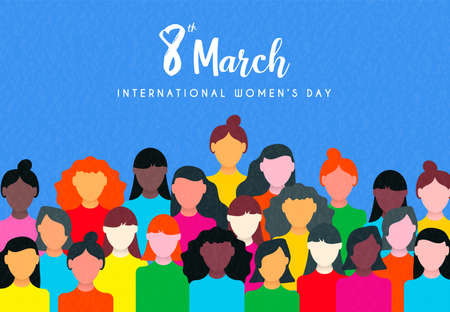 Ilustración de Happy Womens Day illustration of March 8th celebration. Women group marching together for equal rights support. - Imagen libre de derechos