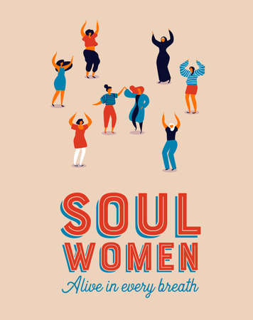 Illustration for Womens Day poster illustration of diverse care free women. Retro style girls dancing for party celebration, fun feminist parade event. - Royalty Free Image