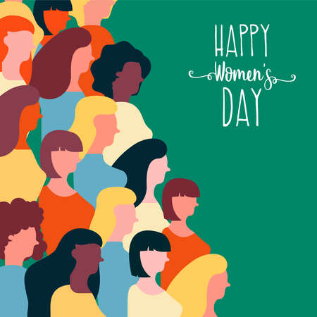 Ilustración de Happy Womens Day illustration for equal women rights. Colorful woman group of diverse cultures together on special event. - Imagen libre de derechos