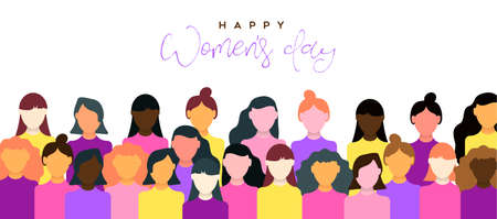 Ilustración de Happy Womens Day illustration of March 8th celebration. Women community together for equal rights support. - Imagen libre de derechos