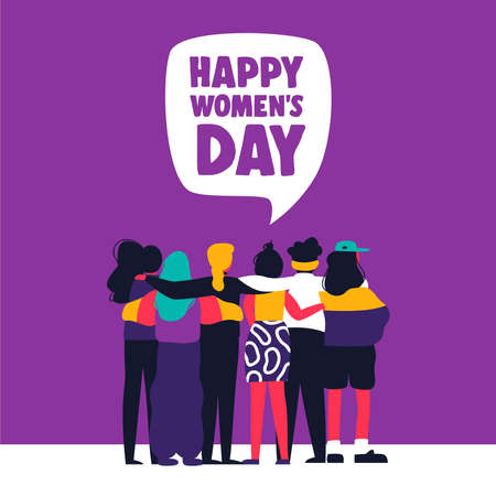 Illustration pour Happy womens day illustration. Diverse woman friend group hugging together. United women concept for protest, march or equal rights. - image libre de droit