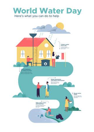 Ilustración de World Water Day infographic illustration with information about safe clean waters help. - Imagen libre de derechos