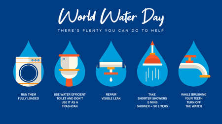 Illustration for World Water Day infographic illustration with information about domestic help from home. Bathroom, pipes and running waters activities for awareness campaign or education project. - Royalty Free Image
