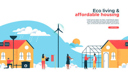 Illustration pour Green eco friendly houses and real estate property web landing page template. Happy diverse neighborhood in sustainable housing community for online site or internet business. Modern building with wind turbine, solar panel, greenhouse garden. - image libre de droit
