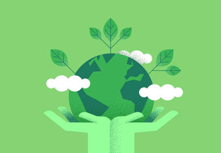 Ilustración de Human hands holding planet earth with green leaves for eco friendly concept. Environment care or nature help illustration. - Imagen libre de derechos