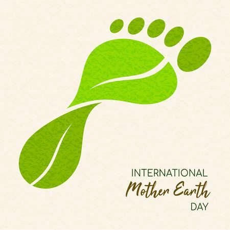 Ilustración de International Earth Day illustration of carbon footprint concept. Green leaves making foot shape for environment care. - Imagen libre de derechos