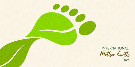 Ilustración de International Earth Day illustration of carbon footprint concept. Green leaves making foot shape for environment care. - Imagen libre de derechos