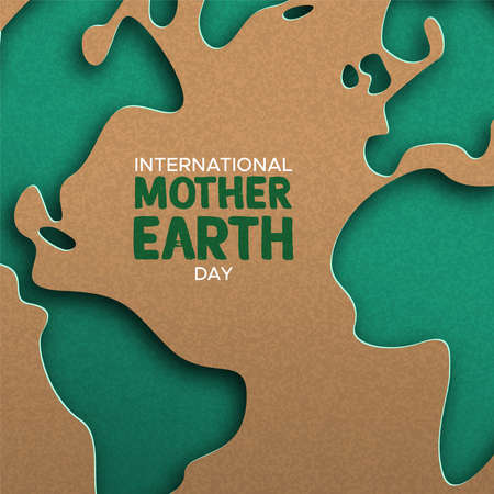 Ilustración de International Mother Earth Day illustration of green papercut world map. Recycled paper cutout for planet conservation awareness. - Imagen libre de derechos
