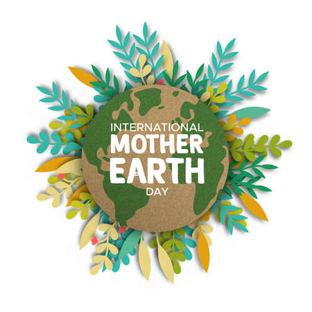 Illustration pour International Mother Earth Day illustration. Recycled world map paper frame on papercut color leaves for eco friendly concept. - image libre de droit