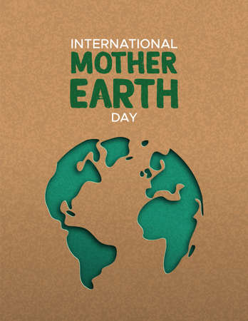 Ilustración de International Mother Earth Day poster illustration of green papercut world map. Recycled paper cutout for planet conservation awareness. - Imagen libre de derechos