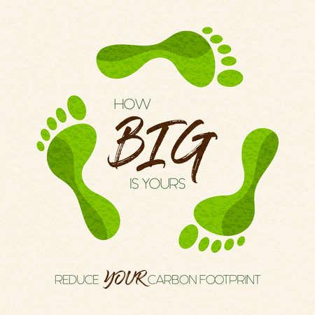 Ilustración de International Earth Day illustration of carbon footprint awareness message. Green foot shape concept for nature care. - Imagen libre de derechos