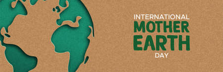 Ilustración de International Mother Earth Day web banner illustration of green papercut world map. Recycled paper cutout for planet conservation awareness. - Imagen libre de derechos