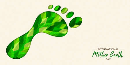 Ilustración de International Earth Day illustration of carbon footprint concept. Green papercut leaves in foot cutout shape for nature care. - Imagen libre de derechos
